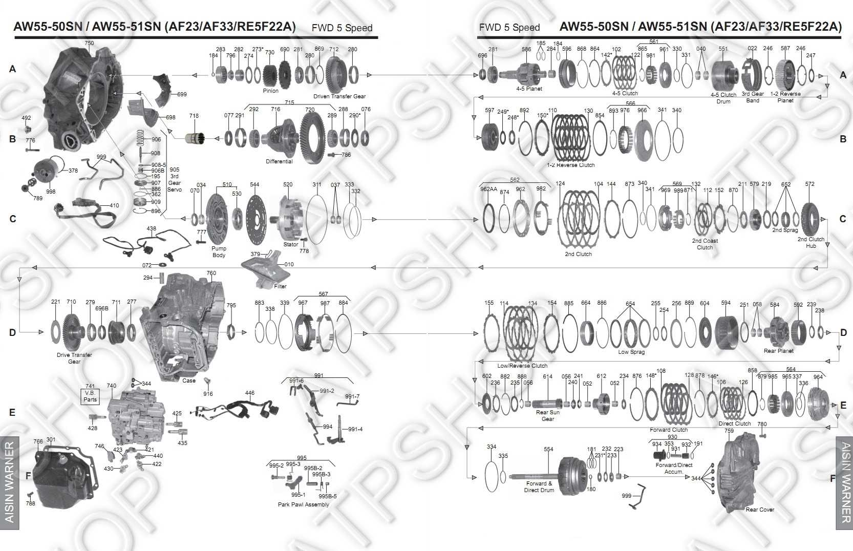 Aw55 50sn Automatic Standard Transmission And Transfer Case