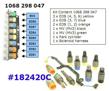 Комплект соленоидов, Solenoid Set, ZF6HP26/26A/32/32A Valve Body, 9pc (3жёлтых,2син,2ор)