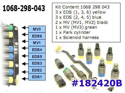 Комплект соленоидов, Solenoid Set, ZF6HP19/26/26A/19A/32/32A (9)(3ж,3син,2чёрн.,1зел)