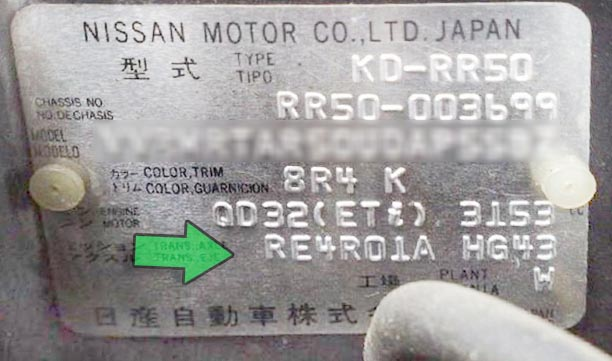 табличка АКПП RE4R01A