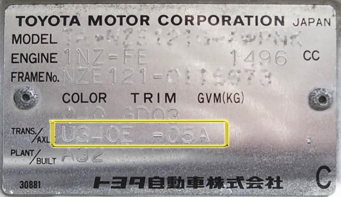 табличка АКПП U340 plates